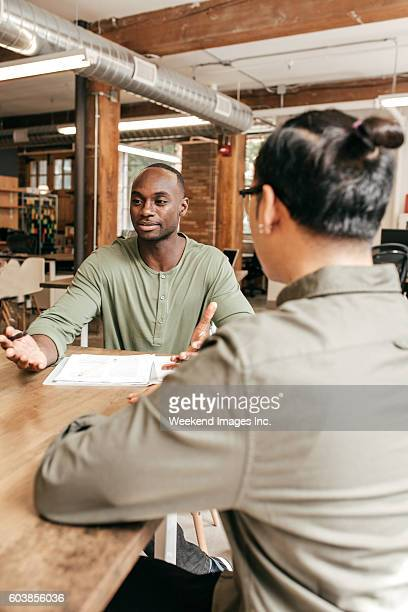 Two people on business meeting