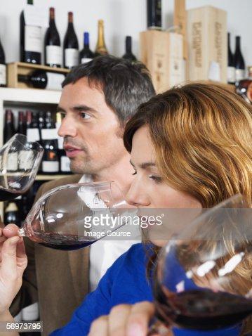 Two people tasting wine : Stock Photo