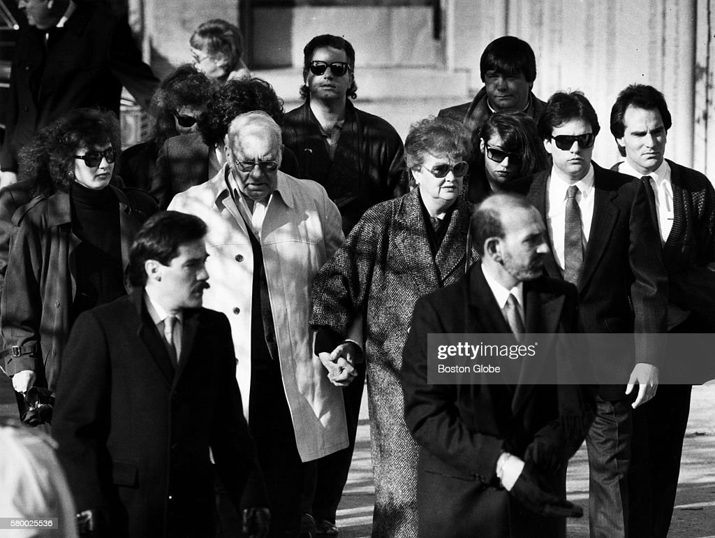 Two people walk out of Charles Stuart's funeral at Immaculate Conception Church in Revere Mass on Jan 7 1990 Stuart committed suicide after being...
