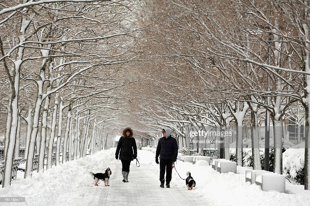 Two people walk their dogs in the snow following a major winter storm on February 9, 2013 in Hoboken, New Jersey. Much of the Northeast received a foot or more of snow through Saturday morning with possible record-setting blizzard conditions expected. Heavy snow warnings are in effect from New Jersey through southern Maine.