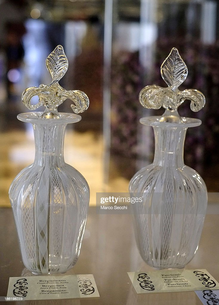 Two perfume bottles on display during the press preview of the perfume exhibition on October 29, 2013 in Venice, Italy. The new perfume section at the Venetian Museum of eighteenth-century lifestyle Palazzo Mocenigo will open on the 1st of November.
