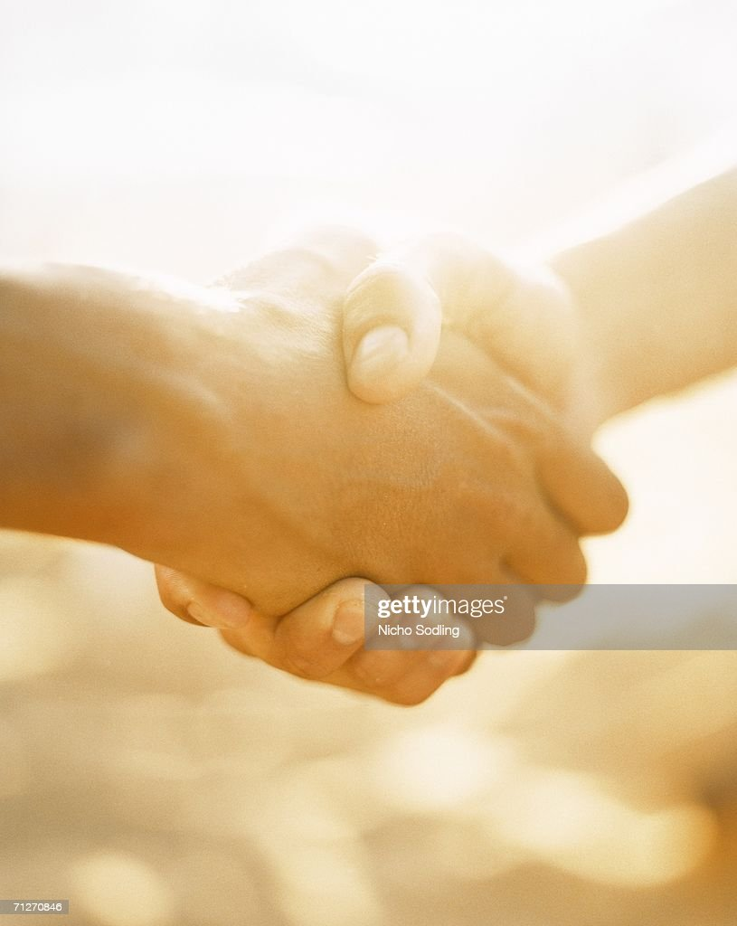 Two persons shaking hands in sunlight, close-up.