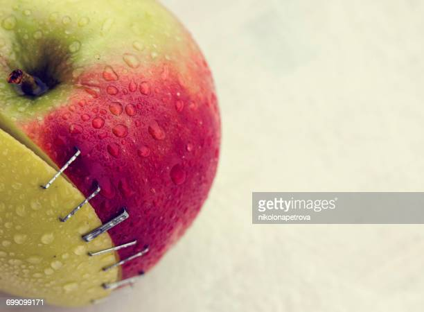 Two pieces of apple stapled together