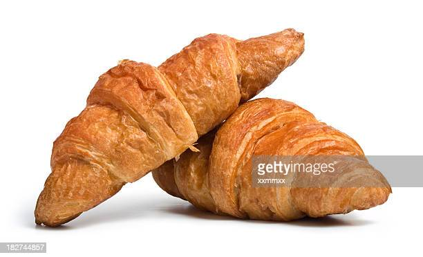 Two pieces of croissant bread