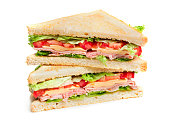 two pieces of sandwich isolated on white background