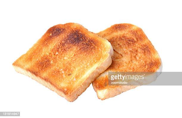 Two pieces of toast, lightly cooked, ready to eat