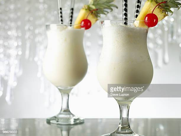 Two Pina Colada Cocktail Drinks
