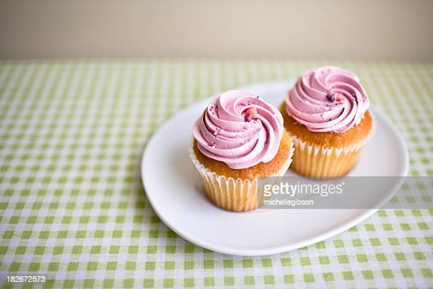 Two pink cupcakes on a plate on a table with a tablecloth