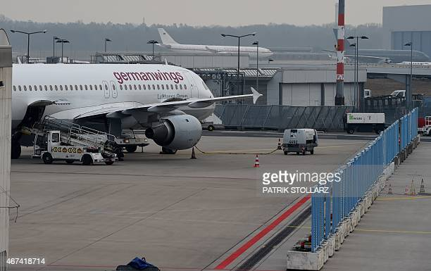 Two planes of German airline German Wings park at the airfield on Cologne/Bonn airport on March 24 2015 in Cologne western Germany The head of...