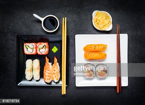 Two Plates with Japanese Food : Stock Photo