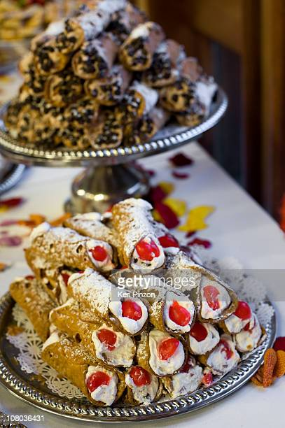 Two platters of Cannoli