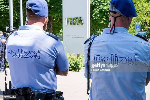 Two policemen stand in front of the FIFA headquarters on June 3 2015 in Zurich Switzerland Joseph S Blatter resigned as president of FIFA The...