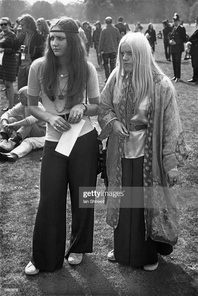 Two pop fans mingle at the Hyde Park free open-air concert, London 1969.