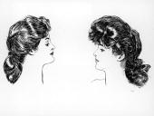 Two portraits by American illustrator Charles Dana Gibson show women in profile facing each other circa 1900s