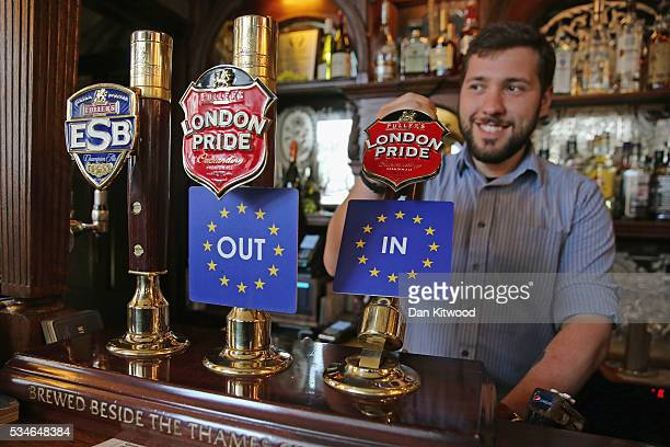 Two pumps of Fuller's London Pride are branded with 'IN' and 'OUT' labels in the Red Lion Pub in Westminster on May 27 2016 in London England The...