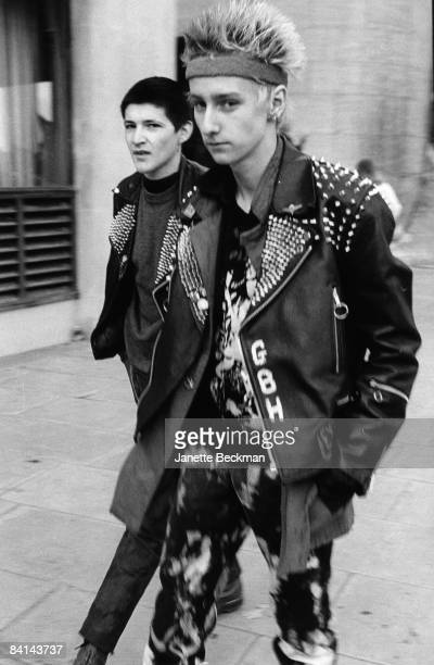 Two punks walk down Coventry 1979 London Great Britain