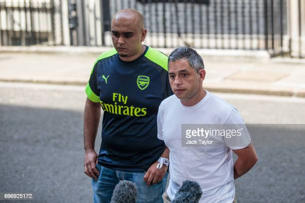 Two representatives from a group of victims relatives volunteers and community leaders of the Grenfell Tower fire disaster address the media as they...