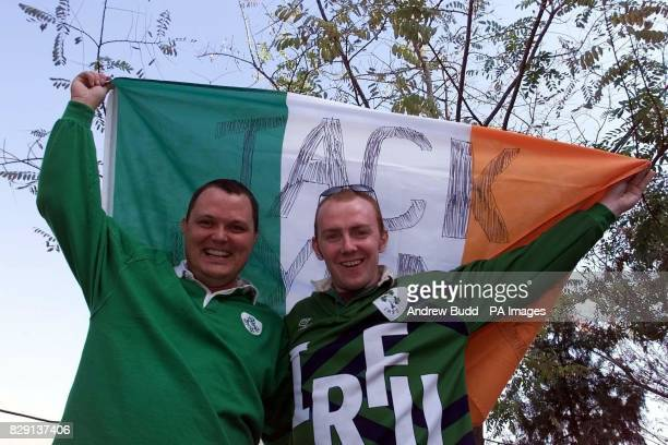 Two Republic of Ireland Fans from Dublin who are working in Saudi Arabia before leaving their hotel to go to the Azadi Stadium for the matchThe Flag...