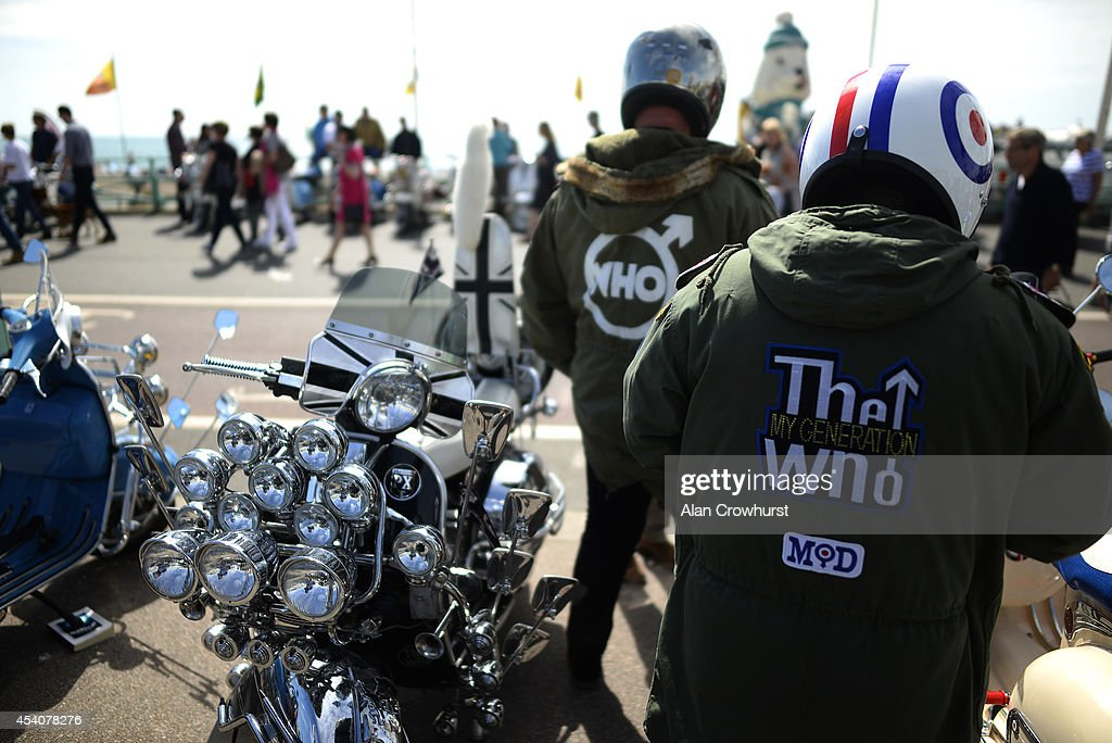 Two riders wearing parkas during the Brighton Mod weekender on August 24, 2014 in Brighton, England. This August Bank holiday will see many Mods and their scooters return to their spiritual home of Brighton for the Mod Weekender event.