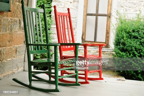 Red Rocking Chairs On Front Porch ~ Two rocking chairs on front porch stock photo getty images