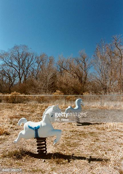 Two Rocking Horses in Field