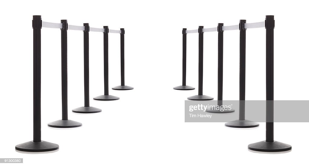 two rows of security barriers : Stock Photo