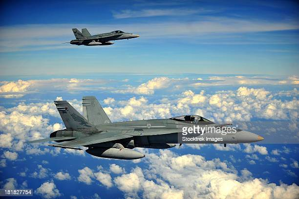 Two Royal Australian Air Force F/A-18 Hornets.