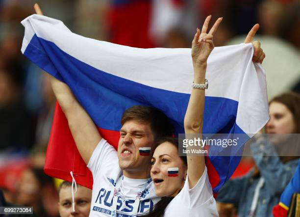 Two Russia fans enjoy the pre match atmosphere prior to the FIFA Confederations Cup Russia 2017 Group A match between Russia and Portugal at Spartak...