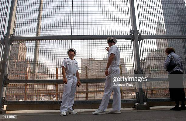 Two sailors from the US Naval Academy visit the site of the September 11 2001 terrorist attacks June 26 2003 in New York City The former site of the...