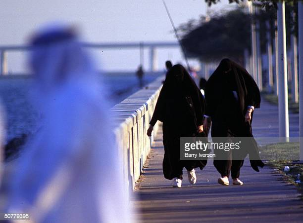 Two Saudi women go for their evening jog on the Dhahran Corniche
