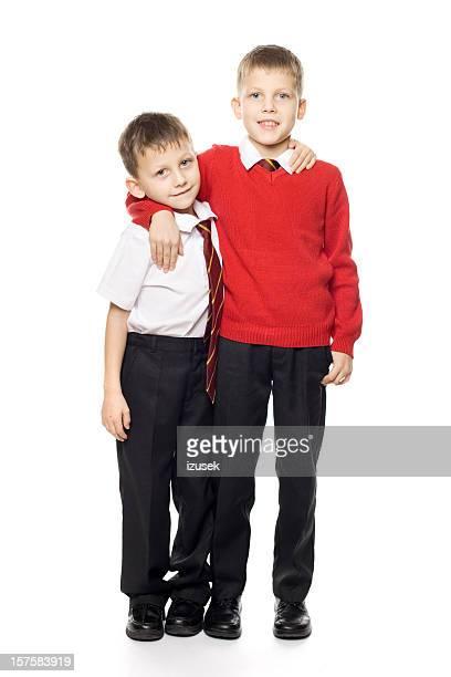 Two School Boys Brothers Posing, Studio Portrait