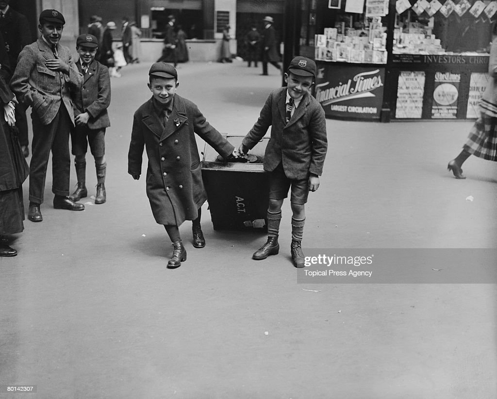 Two schoolboys with their luggage at London's Waterloo Station August 1923