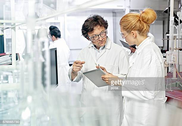 Two Scientists working on computer in a lab