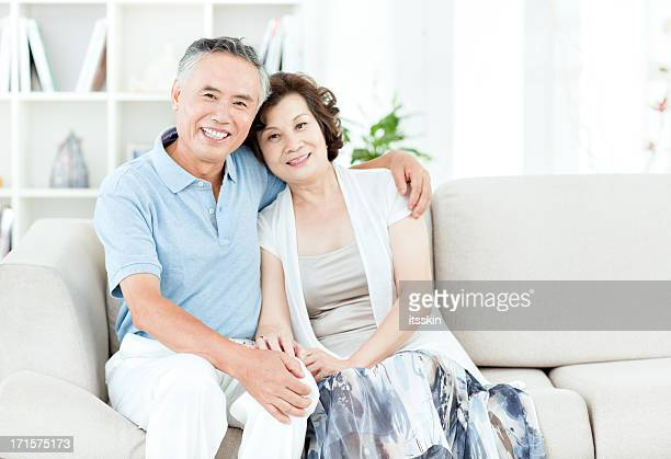 Two senior asian people