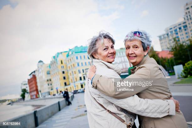 Two senior firendly women on the street