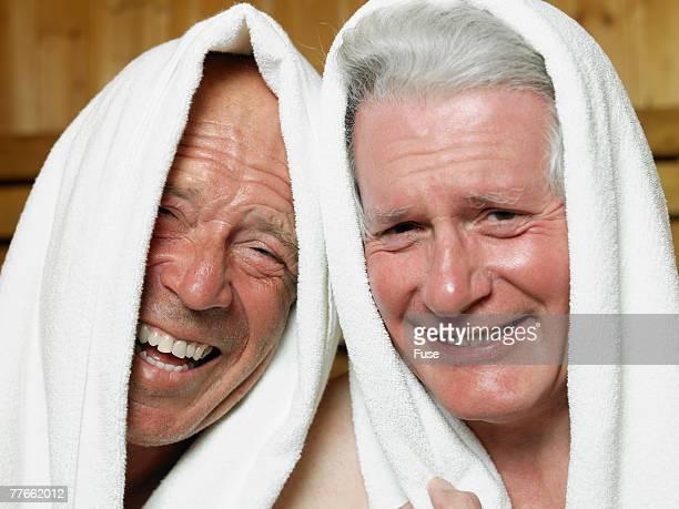 Two Senior Men in Sauna