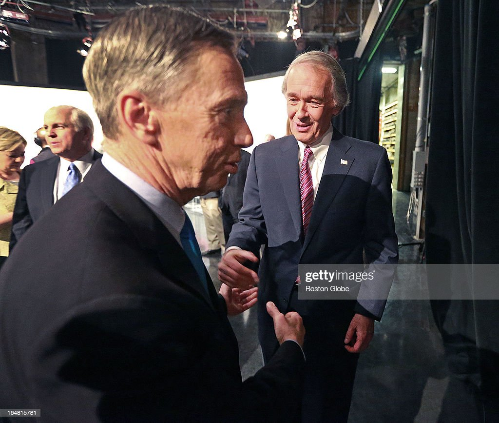 Two separate debates were held at the studios of WCVB-TV for both the Republican and Democratic candidates for the special election for the vacant U.S. Senator's seat from Massachusetts. Here, democratic candidates Stephen Lynch, left, and Ed Markey, right, crossed paths and had a brief handshake as Lynch was leaving the studio after the debate and after the men had met with various reporters.