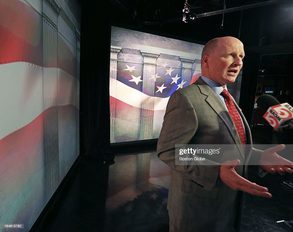 Two separate debates were held at the studios of WCVB-TV for both the Republican and Democratic candidates for the special election for the vacant U.S. Senator's seat from Massachusetts. Republican candidate Dan Winslow talks to a reporter after the debate.