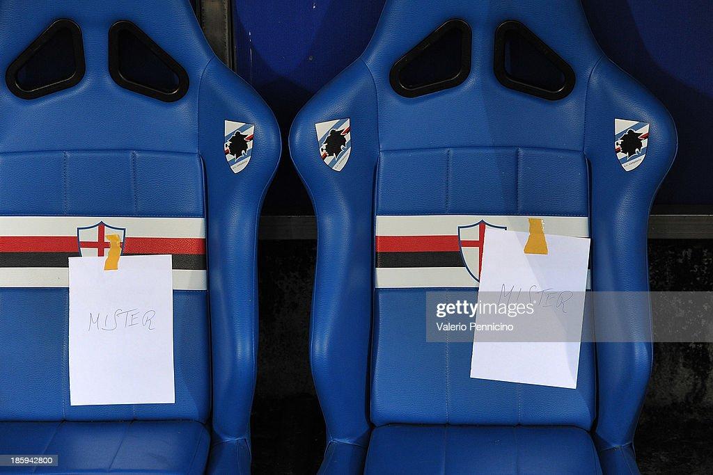 Two sheets hang at the UC Sampdoria team bench prior to the Serie A match between UC Sampdoria and Atalanta BC at Stadio Luigi Ferraris on October 26, 2013 in Genoa, Italy.