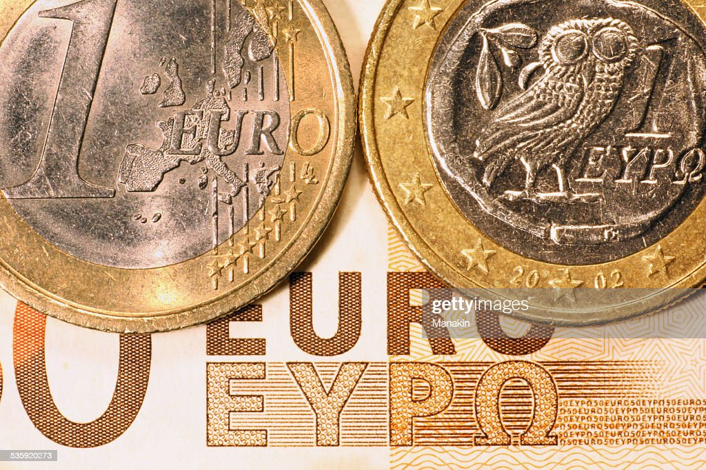 Two sides of a 1 euro greek coin : Stock Photo