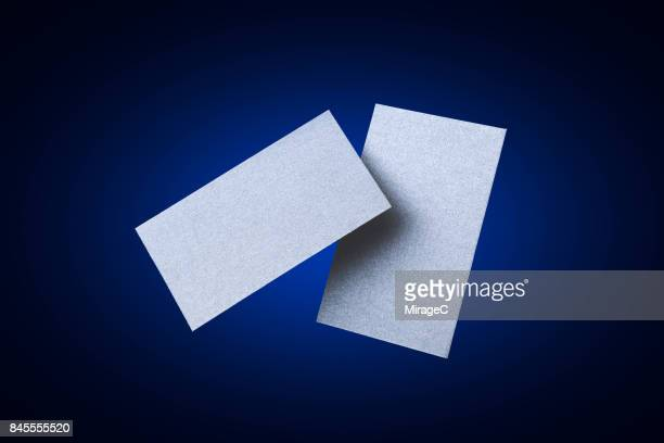 Two Sides of Blue Colored Blank Cards Levitation