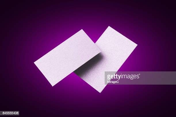 Two Sides of Purple Colored Blank Cards Levitation