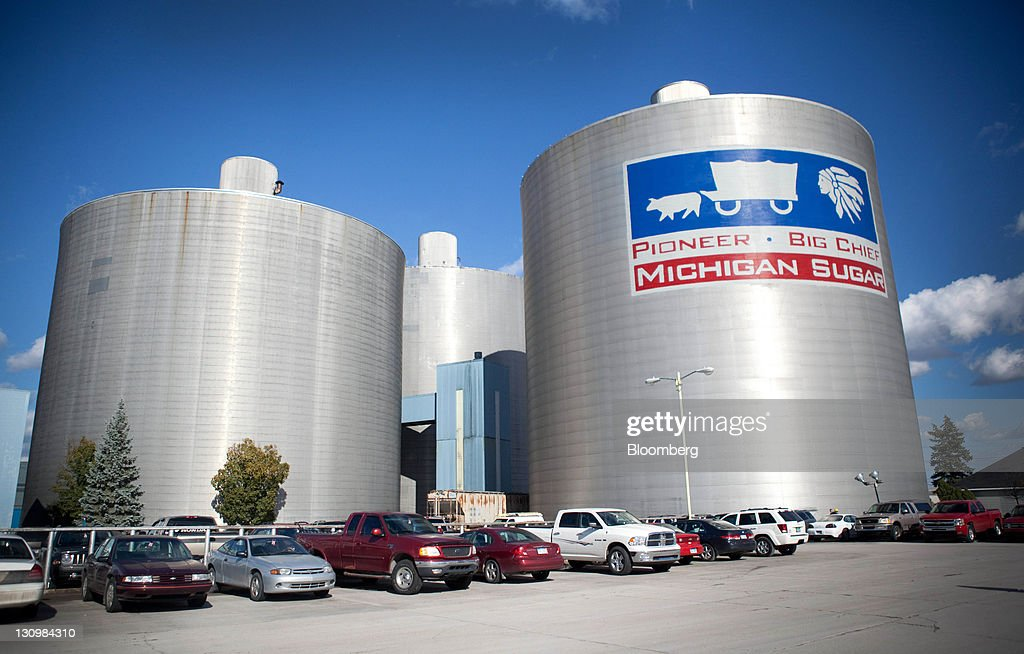 Two silos capable of holding over a million pounds of sugar processed from sugar beets stand at the Michigan Sugar Co. in Bay City, Michigan, U.S., on Monday, Oct. 24, 2011. U.S. sugar supplies this year will fall to the lowest since record-keeping began in 1960 as consumption rises and a smaller beet crop limits supplies left from last season, according to a U.S. Department of Agriculture report released earlier this month. Photographer: Adam Bird/Bloomberg via Getty Images