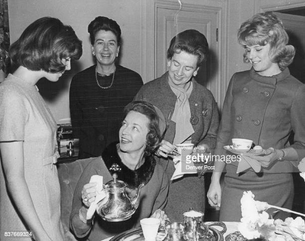 Two Sisters And Their Daughters Visit Over Tea At Party For Kathy Dunklee Tea was a family gathering for Mary Ellen Ricketson standing left her...