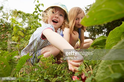 Two sisters crouching and digging in garden