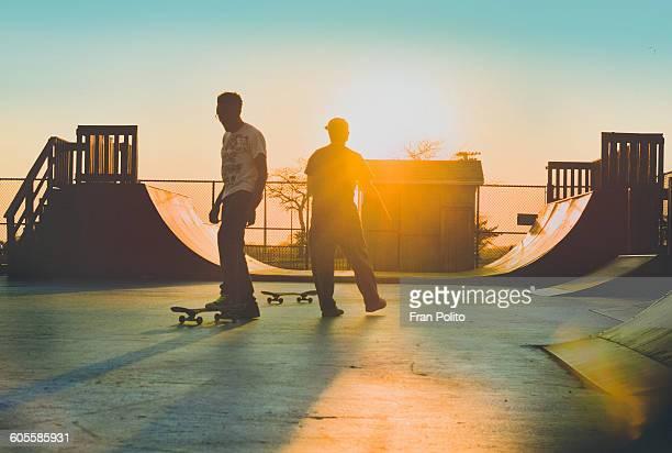 Two skateboarders at the skatepark