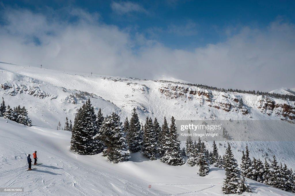 Two skiers enjoy the mountain view.