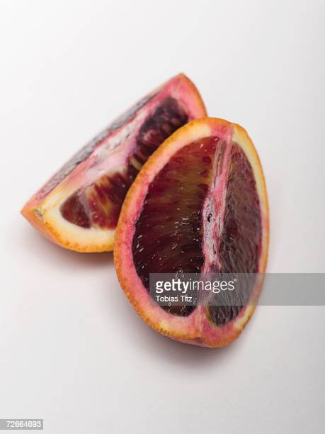 Two slices of blood orange