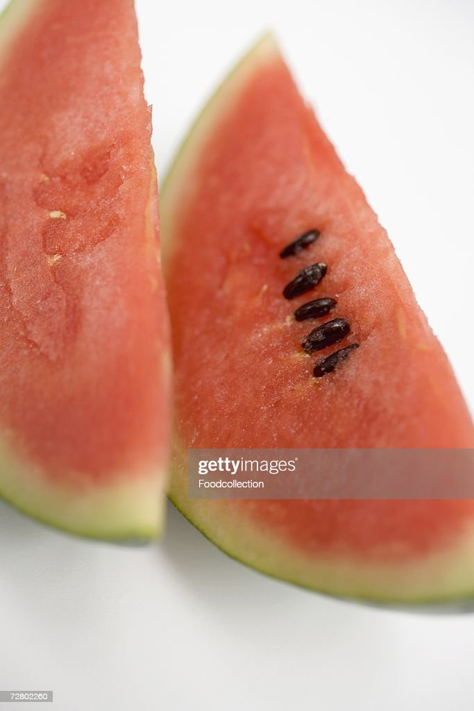 Two slices of watermelon (close-up) : Stock Photo