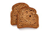 Two slices of wholewheat bread on white background